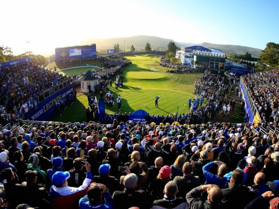 The Ryder Cup crowd overlooking tee